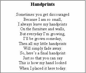 'HANDPRINTS SIGNS OF LIFE' - A father day poem! Handprints
