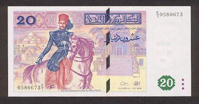 La monnaie (les billets) tunisienne à travers le temps TunisiaP88-20Dinars-1992-donatedth_f