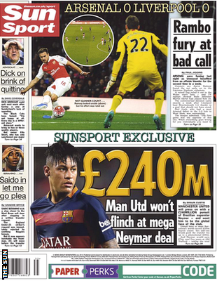 Tuesday football news and transfer gossips _85167721_neymar_sun