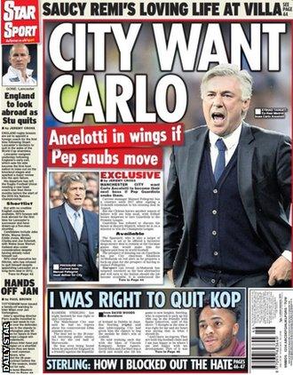 Thursday papers - Gossip column: Hazard, Neymar, Ancelotti, Gomez, Sterling _86640861_86640860
