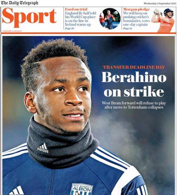 Wednesday sports news paper headlines _85314064_tel