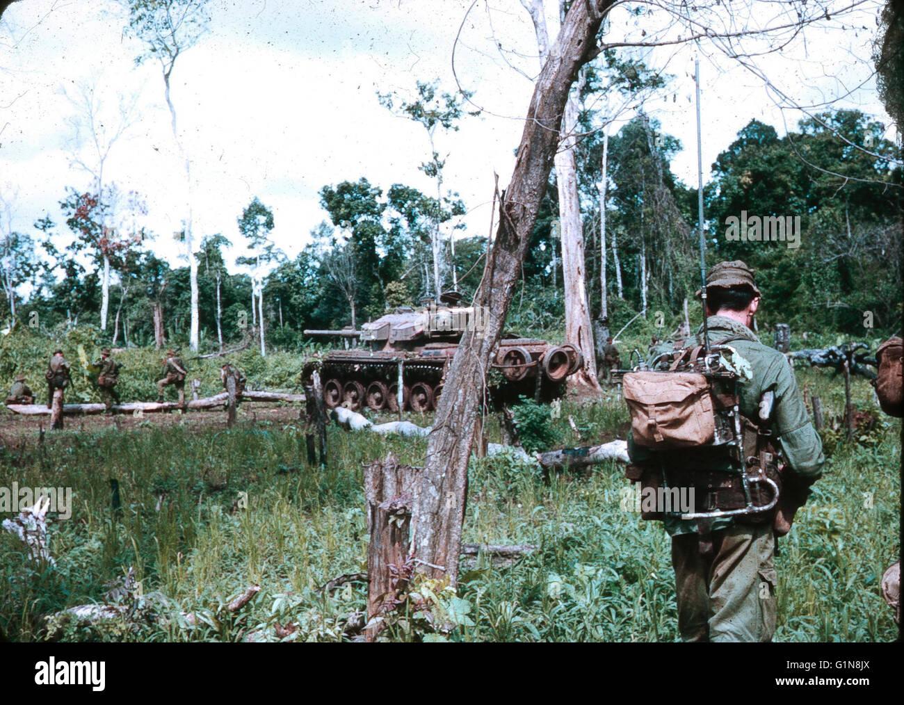 Vietnam War 1954-1975 Australian-infantry-5th-battalion-and-centurion-tank-on-patrol-south-G1N8JX