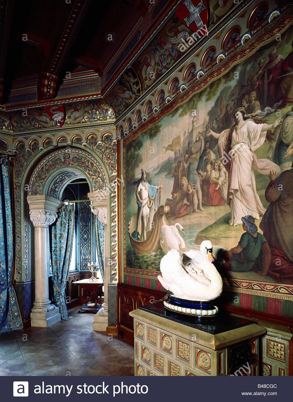 "Receiving Room ""Hall of Swans"" Architecture-castles-germany-bavaria-neuschwanstein-castle-interior-B48CGC"