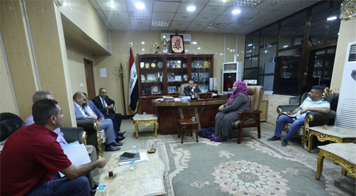 The follow-up team to implement the government program meets with Deputy Governor of Babylon and a number of service department managers. 2019-7-31-01