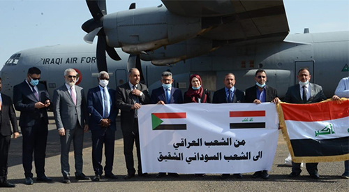 The Iraqi delegation arrives in Khartoum by plane loaded with the first batch of medical materials 2020-09-13