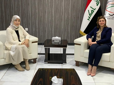 The meeting of the Director General of the Department of Empowerment of Iraqi Women in the General Secretariat of the Council of Ministers, His Excellency the Minister of Immigration and Displaced, Vice-President of the National Council for Women Affairs  2020-7-28
