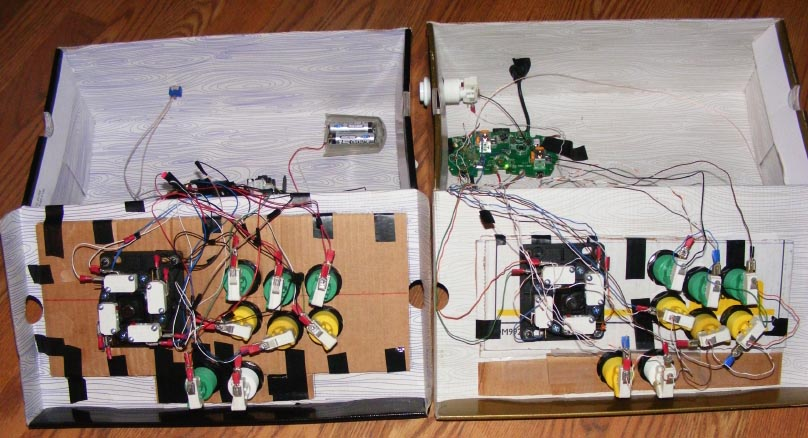 Controle Arcade de Baixo Custo feito com caixas de sapato. Boxstick3