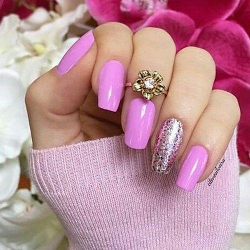 Ногти 254948-Pink-Glitter-Nails