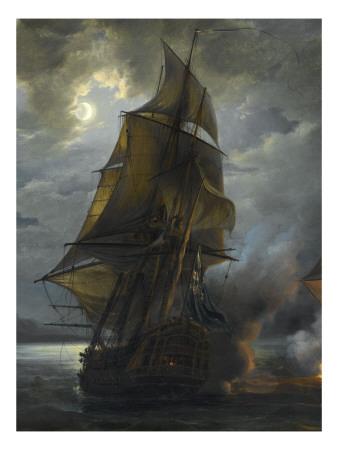 La chronique du pigeon voyageur! Gilbert-pierre-julien-combat-naval-entre-le-vaisseau-francais-le-triton-commande-par-le-comte-de-ligondes-et-le
