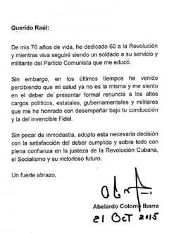 """El """"Furry"""" ,ovvero lo storico general Colome' Ibarra, si dimette dal MININT per motivi di salute  Carta-display"""