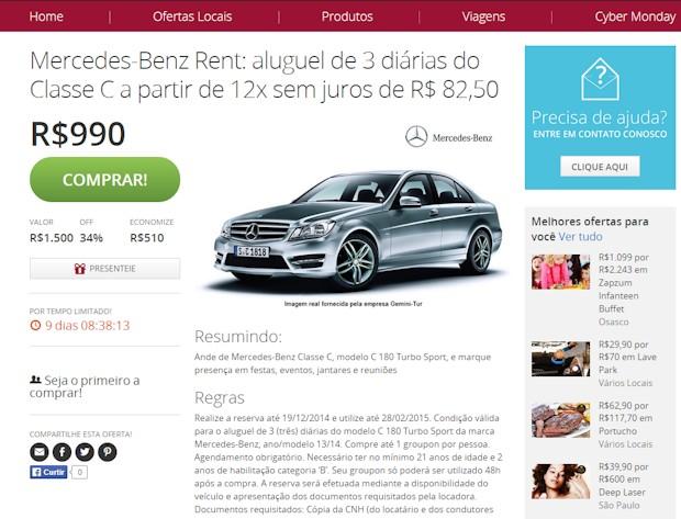 Mercedes-Benz firma parceria com site de comércio eletrônico Groupon
