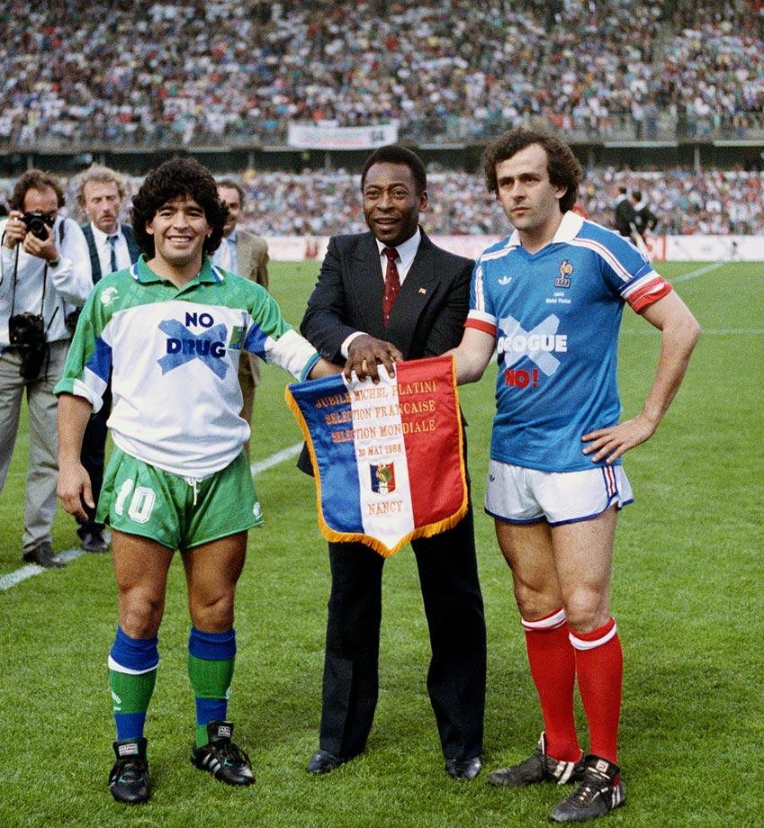 ¿Cuánto mide Diego Armando Maradona? - Altura - Real height 1988-Pele-Diego-Maradona-Michael-Platini