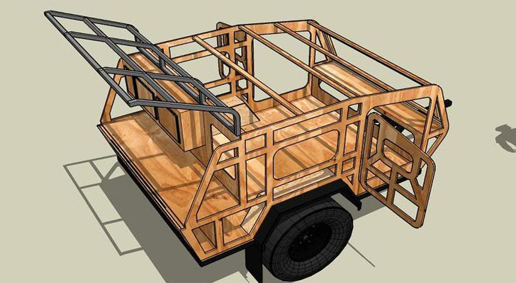 Offroad Teardrop - SawTooth XL CAD-Render-of-Frame-Made-in-Sketchup