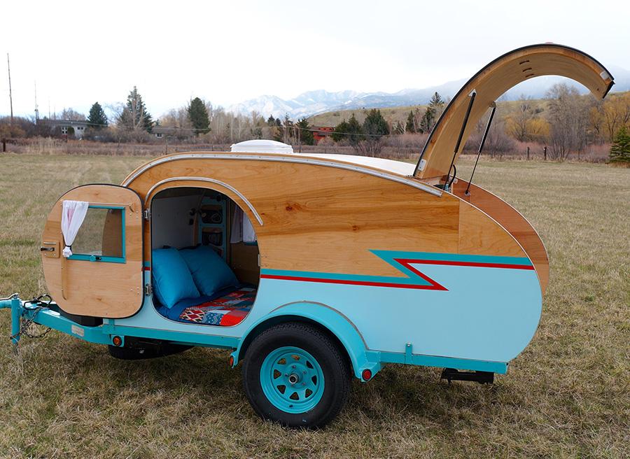 Montana Artists Build Teardrop Trailer Using Wrecked Auto Parts  HomespunHaros-teardroptrailer1