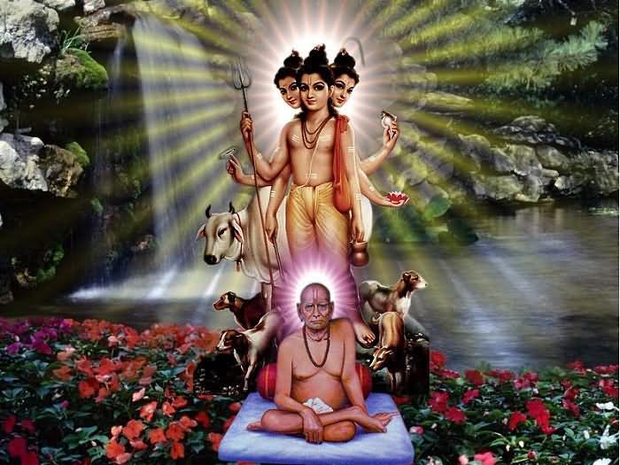 Cosi parlò Dattatreya, il Siva Uno senza maestro 2466-beautiful-poster-of-lord-dattatreya-with-swami-samarth