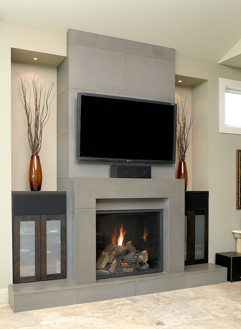 DECORACION  CHIMENEAS Y FALSAS CHIMENEAS - Página 4 Modern-Block-Concrete-fireplace-earthy-living-room