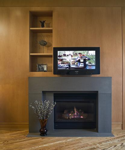 DECORACION  CHIMENEAS Y FALSAS CHIMENEAS - Página 4 Modern-Block-Concrete-fireplace-wooden-walls