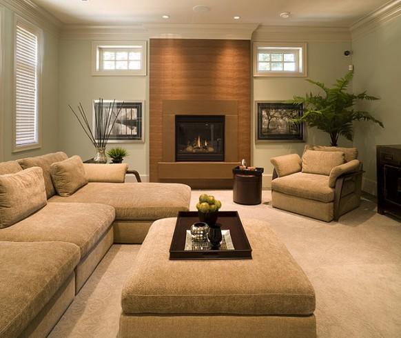 DECORACION  CHIMENEAS Y FALSAS CHIMENEAS - Página 4 Modern-Fireplace-nutmeg-cast-concrete-earthtone-living-room-582x490