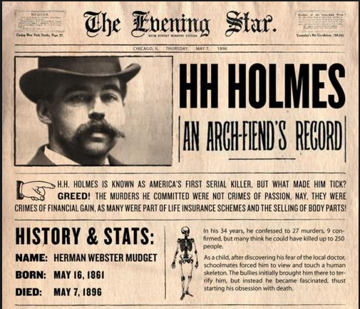 The lovable con-man, H.H. Holmes Newspaper-article-about-HH-Holmes-330785