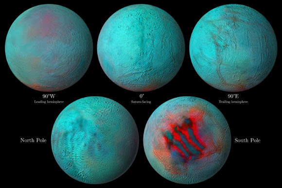Cassini Finds Fresh Ice in Northern Hemisphere of Enceladus Image_8868-Enceladus-Spectral-Map