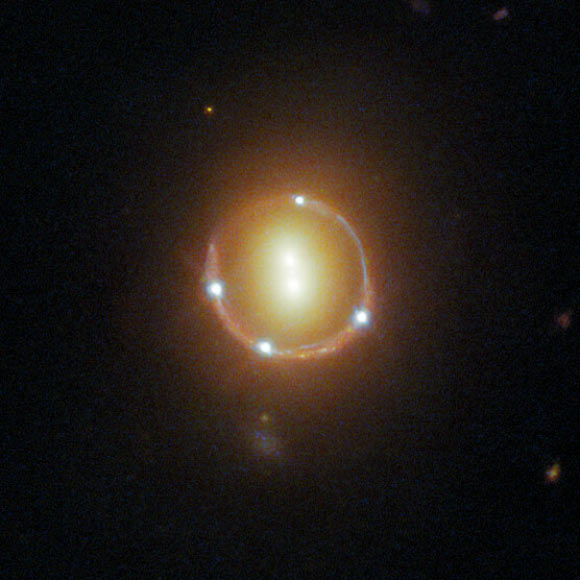 Gravity of Massive Galaxy Pair Magnifies Light from Distant Quasar Image_9938_2-2M1310-1714