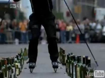 Création d'instruments Rollerblade-musicals-michel-lauziere-skates-through-bottled-classics