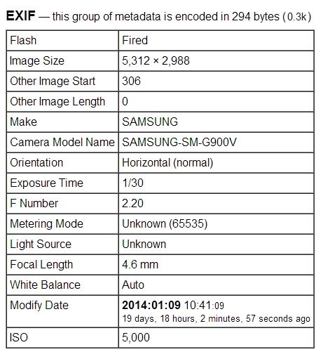 Samsung Galaxy S5 : première image et numéros de série Jeffreys-Exif-viewer-39-001232