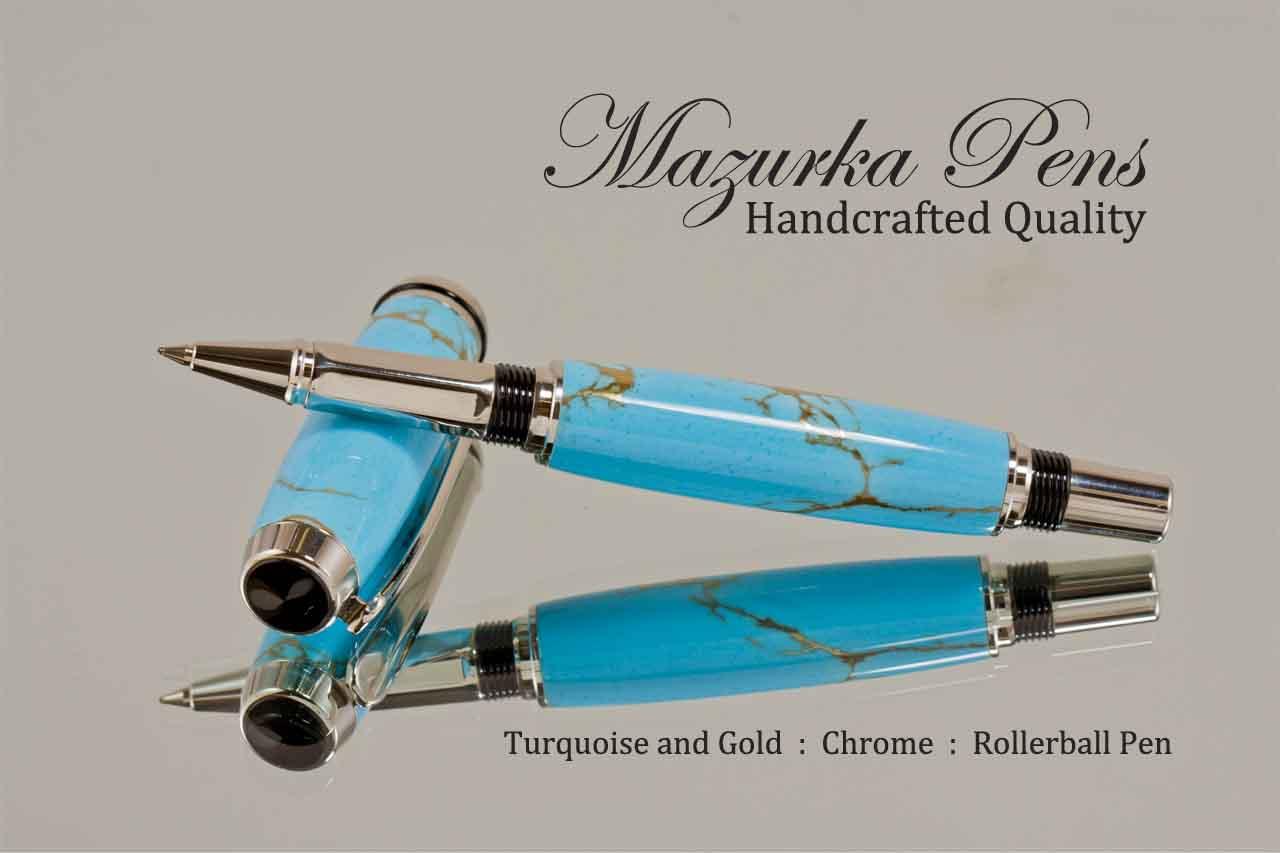 ஆறாம் விரல் Handcrafted-pen-turquoise-gold-chrome-rollerball-c