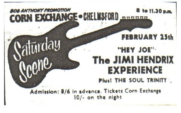 Chelmsford (Corn Exchange) : 25 février 1967  Jimihendrixchelmsfordcornex