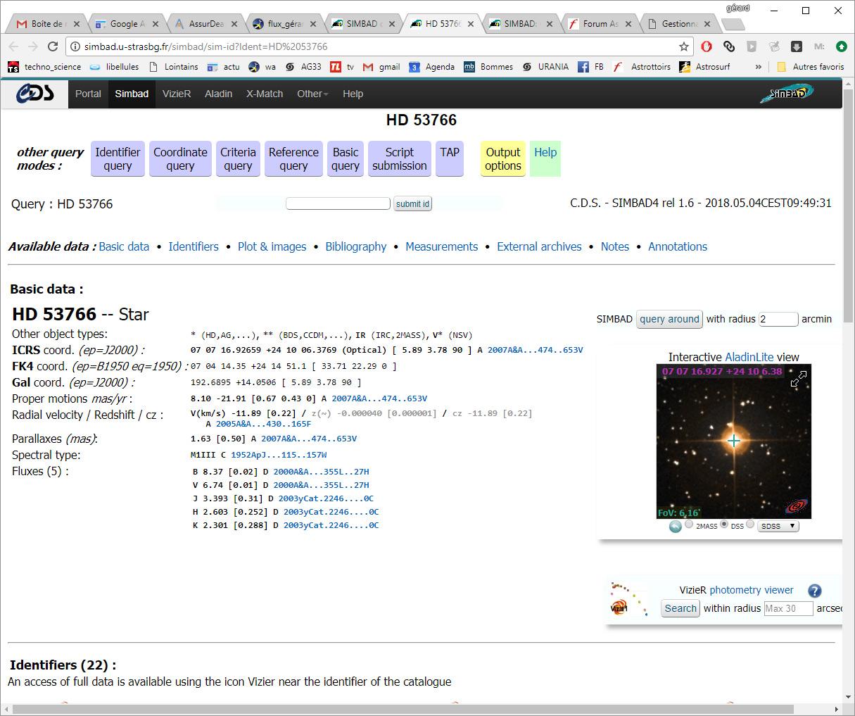 de l'utilisation de Simbad pour faire une liste d'objets Simbad5