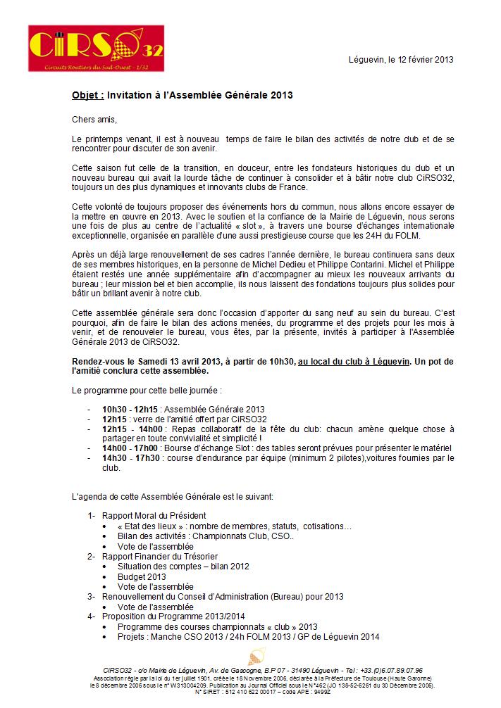 Invitation Assemblée Générale 2013 - Samedi 13 avril à 10h30 CiRSO32_invit_AG2013_p1