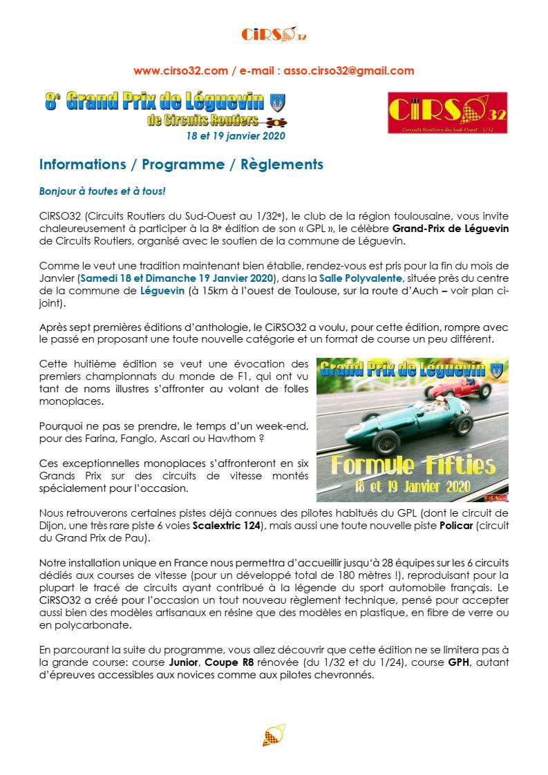 GPL 2020 (Grand Prix de Leguevin) Le programme complet P02