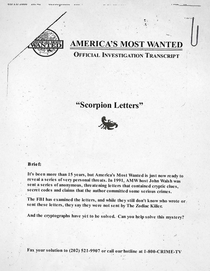 Scorpion letters/ciphers sent to John Walsh John-Walsh-Zodiac-Killer-Letter1