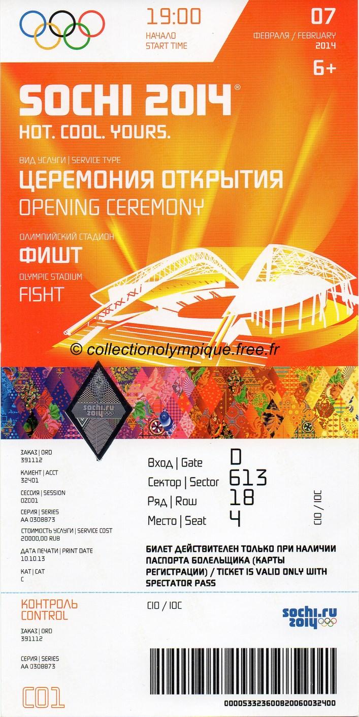 MEMORABILIA SOCHI 2014 2014_sotchi_billet_olympique_ceremonie_ouverture