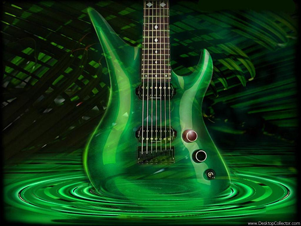 Magija zelene Green-guitar-wallpaper