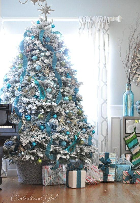 DECORACION DE NAVIDAD Decoracion-arbol-navidad-azul-plata