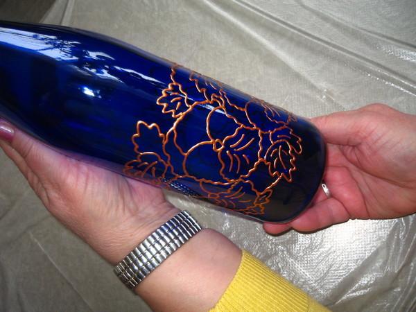 Роспись бутылки.Мастер-класс. I-884