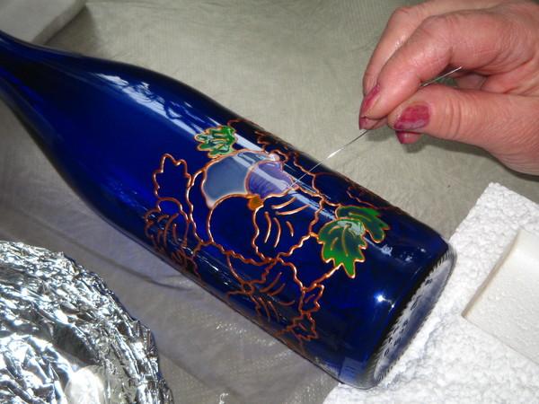 Роспись бутылки.Мастер-класс. I-889