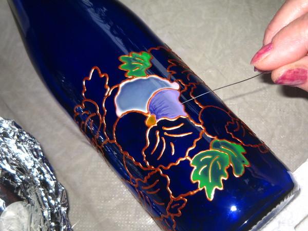 Роспись бутылки.Мастер-класс. I-890