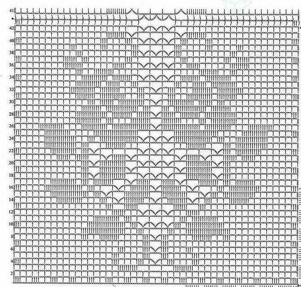 Сиреневая туника филейным вязанием I-605