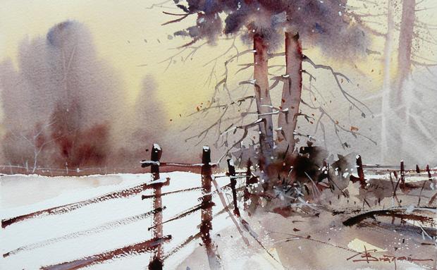 Corneliu Dragan- Watercolour-Acuarela-Corneliu-Dragan-Targoviste-peisaj-rural-12