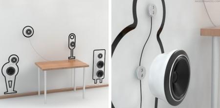 360 ° loa bởi Pieter Maes Wall-sticker-speakers-450x222