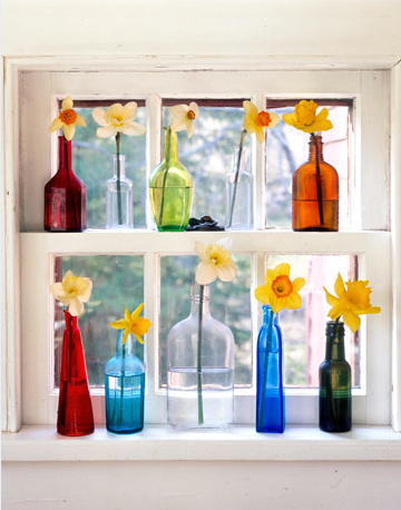 decorar macetas Botellas-ventana