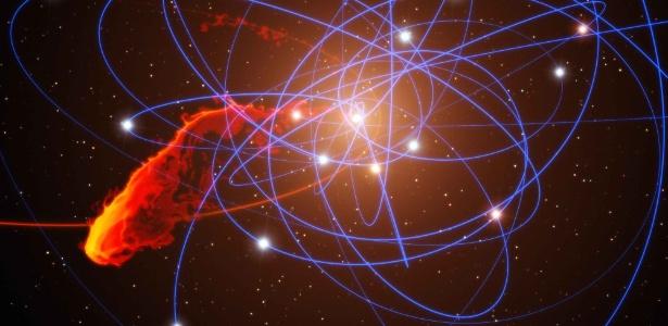 """Nuvem de gás é refeição do """"ogre do cosmos"""" Concepcao-artistica-mostra-uma-nuvem-de-gas-sendo-devorada-pelo-buraco-negro-que-fica-no-centro-da-via-lactea-o-achado-foi-feito-com-ajuda-do-telescopio-vlt-very-large-telescope-do-1323970974049_615x300"""