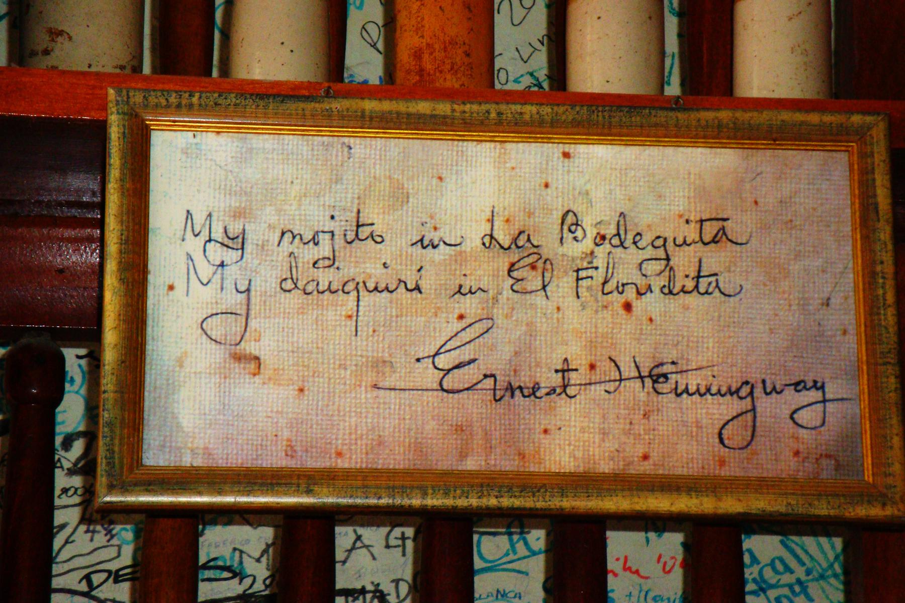 Ernest Hemingvej Cuba-bodequitas-hemingway-sign