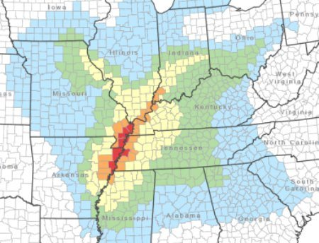Mississippi River going dry ABOVE New Madrid Fault - Crack in ground? New-madrid-mercalli-map