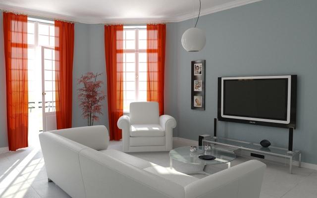 Chambre parental D%C3%A9coration-salon-id%C3%A9e-originale-rideaux-oranges-canape-blanc