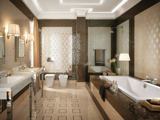 ديكورات حمامات Carrelage-salle-bain-beige-mosaique-marron-accents-brillants