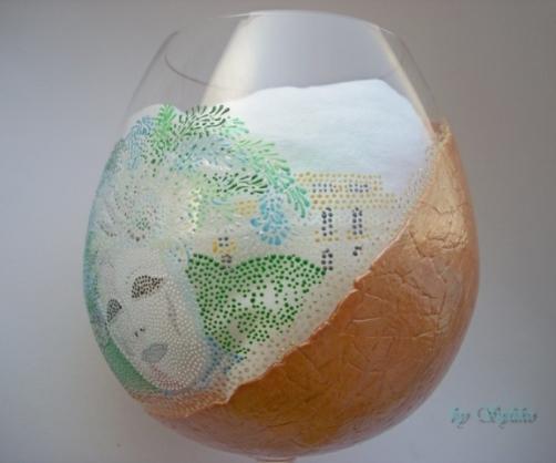 Очень интересная работа с применением яичного кракле и точечной росписи - МК Post-744636-1288807852