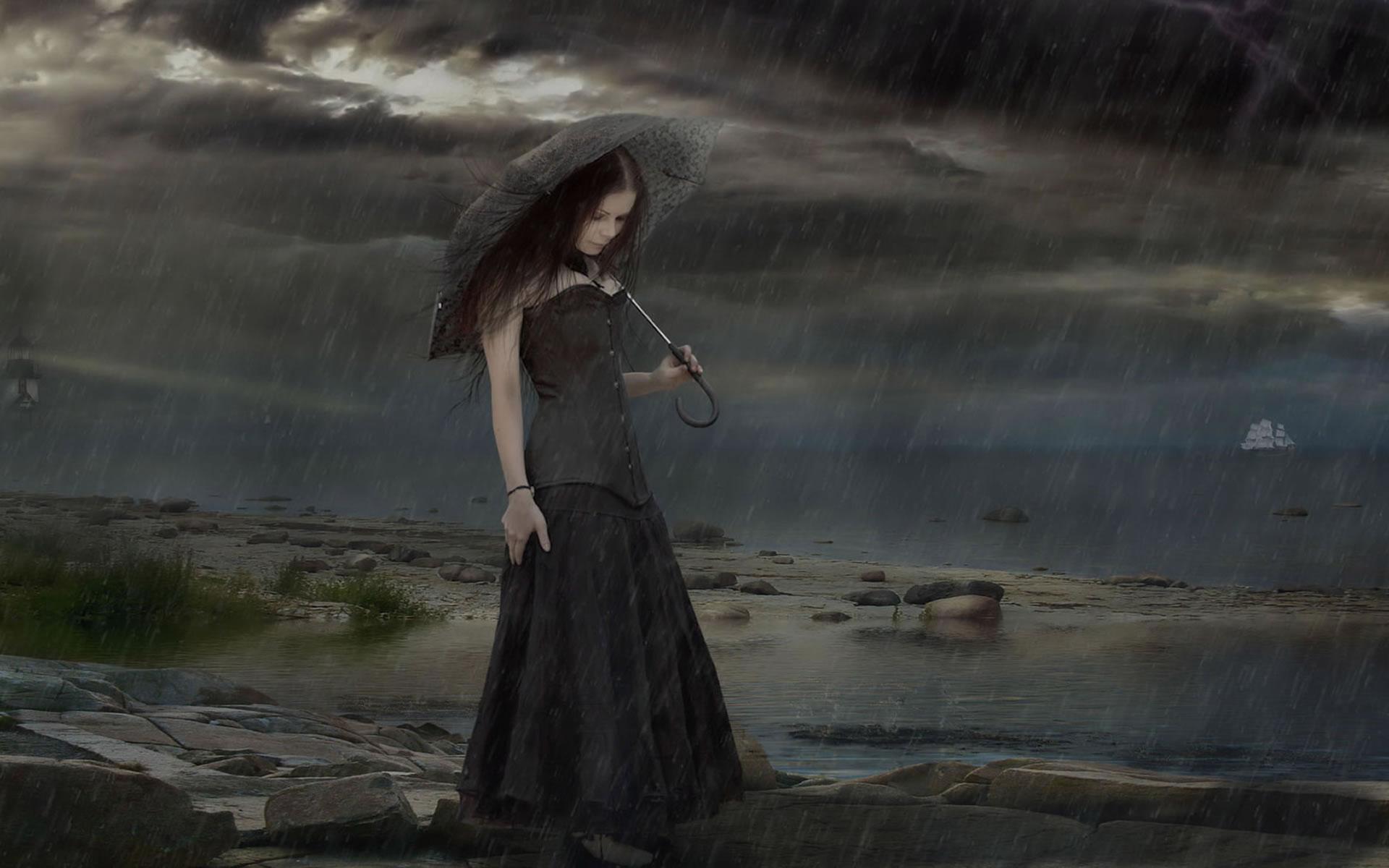 Sin palabras. Tristeza-oscura-bajo-la-lluvia